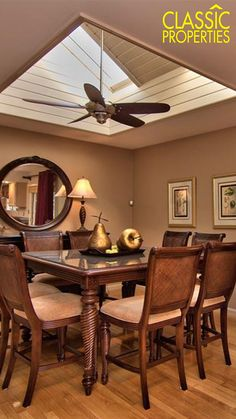 Gorgeous dining room with a magnificent skylight above the large high dark wood table! Home in South Abington Twp, PA listed with Diane Calabro with Classic Properties!