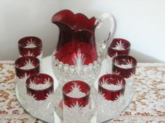 Tarentum ATLANTA or Royal Crystal Ruby Stained Water Set