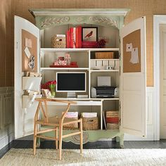No space for a separate home office?The solution is a home office armoire. Check out these 10 clever home office ideas that fit conveniently in an armoire! Home Office Space, Small Office, Home Office Design, Mini Office, Office Designs, Office Spaces, Desk Space, Home Office Cabinets, Home Office Furniture
