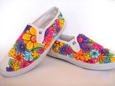 painting shoes :) DYI floooowers ... moja robota