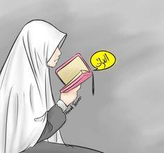 muslimah read quran by Quran Wallpaper, Wallpaper Hp, Islamic Wallpaper, Cartoon Wallpaper, Anime Girl Dress, Anime Art Girl, One Piece Wallpaper, Reading Cartoon, Hijab Drawing