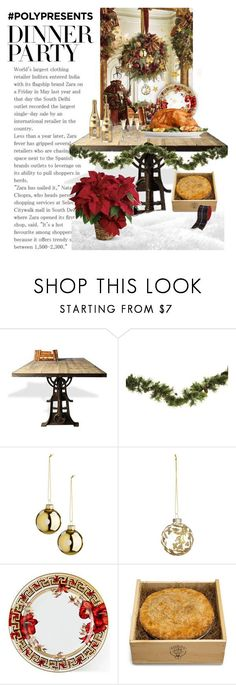 """""""#PolyPresents: Dinner Party"""" by patricia-dimmick ❤ liked on Polyvore featuring interior, interiors, interior design, home, home decor, interior decorating, Versace, Kerber's Farm, Ballard Designs and contestentry"""