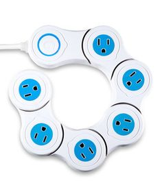 This handy set offers uniquely convenient surge protection. The pivot power is an adjustable power strip that holds large adapters in each one of six outlets, perfect for charging electronics all at once.
