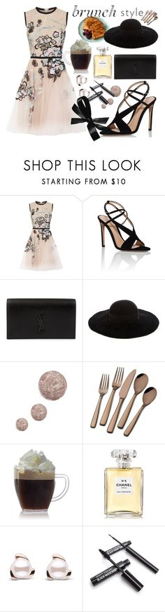 """""""brunch style"""" by genovefa1567 ❤ liked on Polyvore featuring Elie Saab, Gianvito Rossi, Yves Saint Laurent, Eugenia Kim, Topshop and Chanel"""