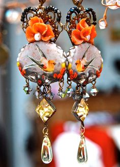 Lilygrace Orange, Yellow and Grey Bird Floral Cameo Earrings with Freshwater Pearls and Vintage Rhinestones by LilygraceOriginals on Etsy https://www.etsy.com/listing/78248000/lilygrace-orange-yellow-and-grey-bird