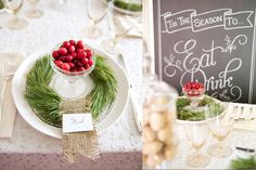 DYI Mini Pine Wreaths with Burlap  Vintage Decor Rentals - The Sugar Post  Chalk Art - The Chalkshop  Photography & Styling - Catalina Bloch