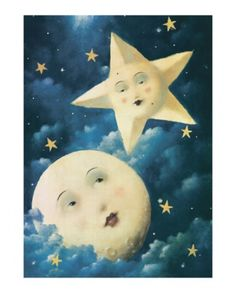 Moon and stars, cute whimsical art <3