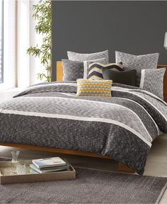 Duvet Cover from Macy's. Love the mix of grays and textures that you could accent with any color.