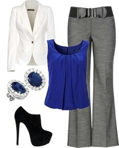 White blazer blue top grey pants minus the shoes and earrings!  Well, that is unless the earrings are real!