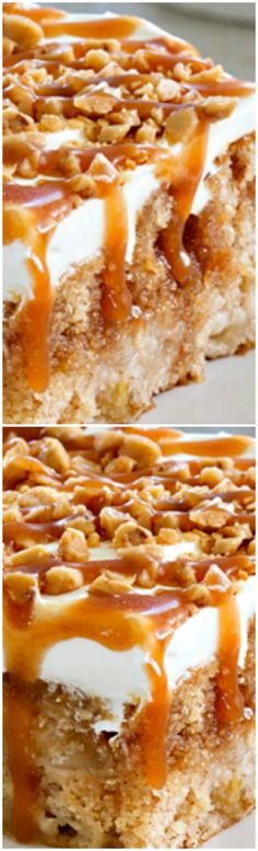 Caramel Apple Poke Cake ~ Super simple to make... The caramel drizzle and toffee bits make it irresistible.