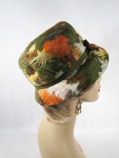 Vintage 1960s 60s Hat Green Feathered Bucket Style by Angel from alleycatvintage on Ruby Lane