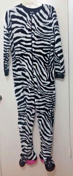 aeba3331b8 Nick  amp  Nora Size L Zebra Print Footed Pajamas Women s Fleece One Piece   NickNora