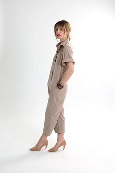 Tan suese jumpsuit with pockets