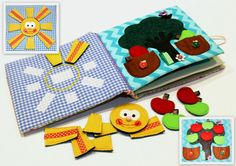 Quiet active book made of cloth is recommended for children from 2 year old. It consists of 4 sheets. On every of 6 pages there are different kinds of