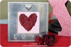 Monograms and Framed Art {Using Dried and Crushed Rose Petals}
