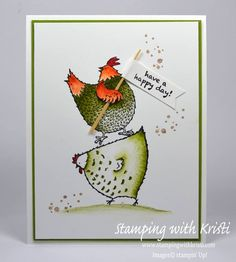 Seventeen Stampin' Up! Projects by Amy's Inkin' Krew Featured Stampers - Kaarten Maken Have A Happy Day, Bird Cards, Stamping Up Cards, Animal Cards, Pretty Cards, Paper Cards, Paper Gifts, Happy Birthday Cards, Cool Cards