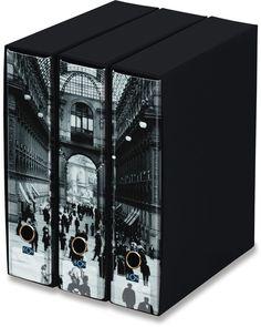 KAOS Lever Arch Files 2ring Binders with slipcase, Spine 8 cm, 3 pcs Set   - MILAN, GALLERIA - 3 pcs Set Dimensions: 26.8x35x29 cm