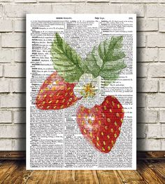 Lovely Strawberry print. Cute Kitchen poster. Nice modern Food print. Beautiful Fruit art for your home and office. SIZES: A4 (8.3 x 11) and A3