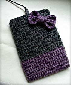 Purple and Gray Kindle, Nook, iPad Mini, Tablet Crochet Case with Purple Bow Applique