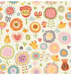 Pattern with birds and flowers vector 1079599 - by annaguz on VectorStock®