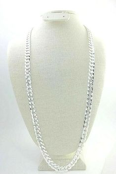 """Men's 10mm Miami Cuban curb chain necklace 30"""" textured sterling silver plated #Unbranded #MiamiCubanCurbChain Mens Sterling Silver Necklace, Gold And Silver Bracelets, 925 Silver Bracelet, Silver Drop Earrings, Silver Chain Necklace, Silver Necklaces, Gold Jewelry, Silver Ring, Moon Necklace"""