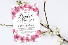 Bridal Shower Invitation. Bridal Cherry Invitation. Cherry Invite. Spring Bridal Shower. Bridal Shower Party. Cherry Blossom Invitation.