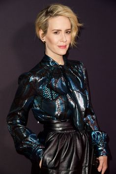 The lovely Sarah Paulson wearing Marc Jacobs Resort '17 to Television Academy's Performers Peer Group Celebration