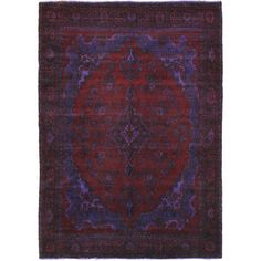 "6'9"" x 9'8"" Color Transition Rug In Navy & Burgundy"
