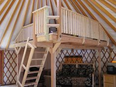 Our yurt has an open floor plan. Yes, we could have added walls. Coulda Woulda Shoulda, right? As it was, mom . Yurt Interior, Interior Photo, Interior Design, Tiny House Plans, House Floor Plans, Bungalows, Yurt Loft, Yurt Living, Wood