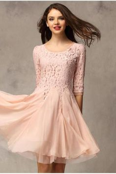 Fashion Lace Chiffon 3/4 Sleeves Knee-length Dress