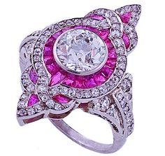 Fleur-De-Lis Art-Deco Diamond Engagement Ring