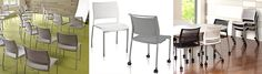 """The high density stack chair is now available in 4 legs and with casters! Classroom Training, Bar Stools, Your Design, Design Inspiration, Legs, Table, Chairs, Furniture, Twitter"