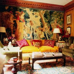 Home Design Drawing Interior Design Gallery of Interior Design Projects of Drawing rooms, Bedrooms… - Large Tapestries, Yellow Sofa, Interior Design Gallery, Living Spaces, Living Room, Wood Painting Art, Bohemian Style Bedrooms, Blue Pictures, Mellow Yellow