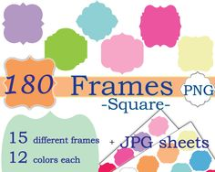 Instant download  clipart Frames PNG, Square shape,  Ready to print Digital Frames, Borders Clip Art, Etiquette JPG, Brackets clipart - pinned by pin4etsy.com