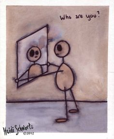 ORIGINAL ART. Who Are You: Small painting of a figure looking into a mirror with a saying.
