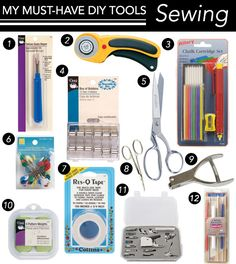 The 12 Must Have Tools for Sewing DIYs: Outfit your sewing room with these needed tools and supplies!
