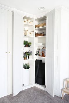 Home- Creating Built In Office Storage with the IKEA PAX system, organized office, home office organization, PAX wardrobe with GRIMO doors as office storage, how to design and install the IKEA PAX sys Office Supply Organization, Home Office Storage, Home Office Design, Organization Ideas, Bedroom Storage, Pax System, Ikea Pax Corner Wardrobe, Corner Closet, Room Corner