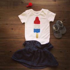 Short Sleeve Red/Silver/Blue Glitter Bomb Pop Onesie, $17.00
