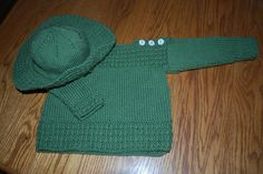 Hand-Knit Baby Boat Neck Sweater and Sun Hat with Holly Hobby Buttons