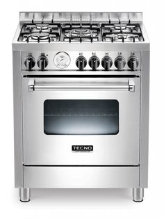Fogão TX7 TUEL5 / 14 Em inox escovado, com 5 queimadores, forno elétrico de 9 funções TURBO com churrasqueira, 70 X 60cm (LxP). #TECNO #FOGAO