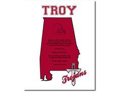 Troy Trojans Football Art Print Alabama by PatriotIslandDesigns, $14.00