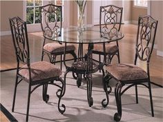 48 Glass Metal Round Dinette Table Set Glass Kitchen Tables, Glass Dining  Room Table,
