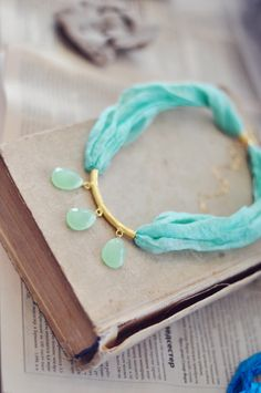 unique statement gemstone fashion necklace fresh mint green faceted chalcedony stones natural silk gold filled chain israel. $49.00, via Etsy.