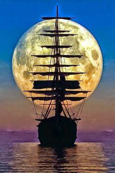 sail away .sail away.sail away Tall Ships, Moon Pictures, Moon Photos, Images Photos, Nature Pictures, Beautiful Moon, Beautiful Scenery, Beautiful Things, Belle Photo