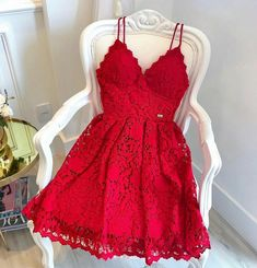 red lace sleeveless short school event dress applique v-neck homecoming dress sp. red lace sleeveless short school event dress applique v-neck homecoming dress spaghetti-straps backless evening dress party – Ball dresses – Red Lace Prom Dress, Red Homecoming Dresses, Hoco Dresses, Event Dresses, Cute Dresses, Formal Dresses, Dress Red, Graduation Dresses, Quinceanera Dresses