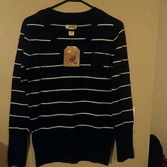 Women's Route 66 Long Sleeve V Neck Sweater Black With White Stripes  Pocket Route 66 Sweaters V-Necks