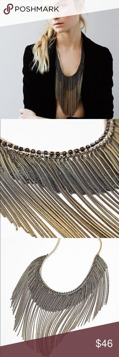 Free People Chain Waves Ombré Rhinestone necklace New with tags 😊💗 Bundle 3+ for 20% off Free People Jewelry Necklaces