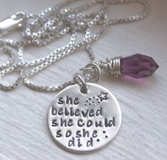 Believe and you can accomplish anything! She Believed She Could So She Did Hand Stamped Sterling Silver Necklace with Swarovski Crystal from Jessie Girl Jewelry - Products tag. Metal Jewelry, Antique Jewelry, Silver Jewelry, Beaded Jewelry, Handmade Jewelry, Bracelet Making, Jewelry Making, Hand Gestempelt, Silver Work