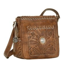 American West Harvest Moon All Access Crossbody Handbag Golden Tan Leather