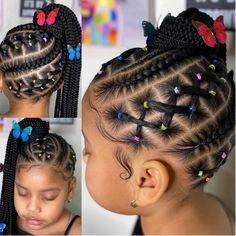 Little Black Girls Braids, Black Kids Braids Hairstyles, Little Girls Natural Hairstyles, Little Girl Braid Styles, Toddler Braided Hairstyles, Natural Hairstyles For Kids, Braids For Black Hair, Braid Styles For Kids, Little Mixed Girl Hairstyles